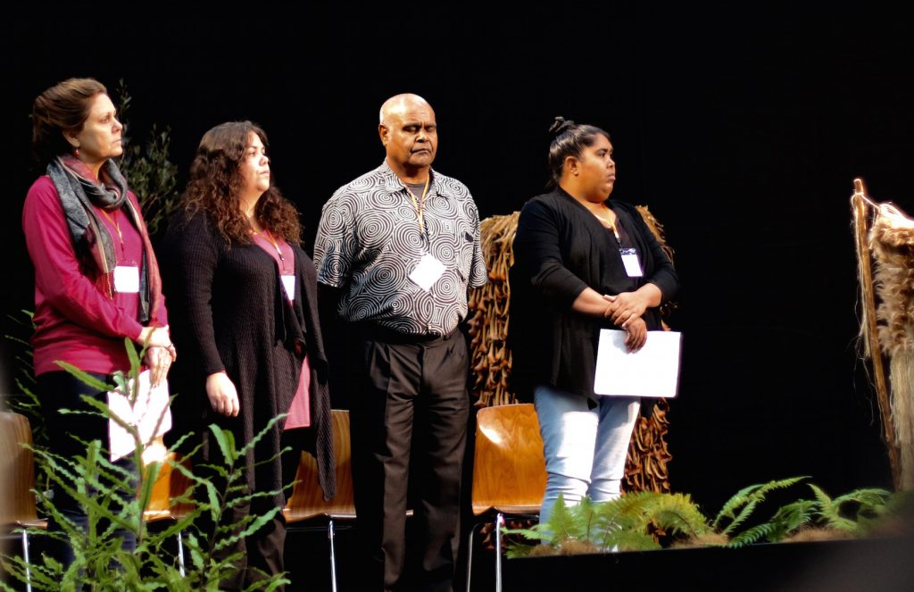 One of the stirring presentations at the hui was by Woor-Dungin, an aboriginal coalition of organizations and funders from Australia. In the Gunnai language, Woor-Dungin means to share. Eight members of the coalition took the hui participants on a journey of dadirri, an aboriginal philosophy on listening deeply.